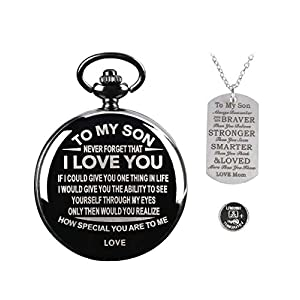 Personalized Engraved to My Son Pocket Watch with Chain+Dog Tag from Mom/Dad,Retro Quartz Digital Fob Watches for Men,Birthday Graduation Christmas Anniversary Wedding Gifts (with Extra Battery)