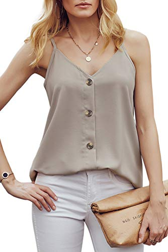 FZ FANTASTIC ZONE Women's V Neck Button Strappy Tank Top Loose Casual Sleeveless Cami Shirt Blouse - Casual Beige Shirt