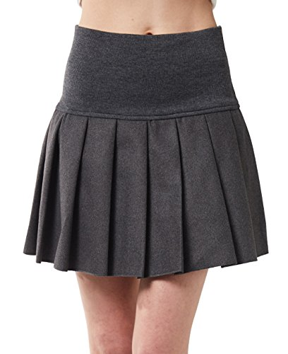 chouyatou Women's Casual Plaid High Waist A-Line Pleated Skirt (Small, J64-Grey)