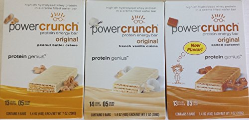 BioNutritional Research Group- Power Crunch Variety 3 Pack: Peanut Butter, French Vanilla Creme, and Salted - Caramel Butter Vanilla