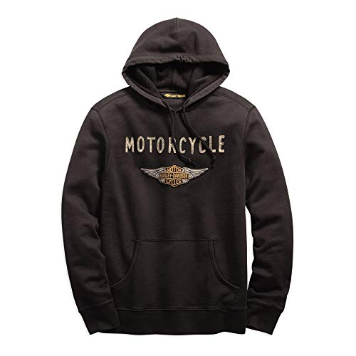 Harley-Davidson Official Men's Felt Patch Slim Fit Pullover Hoodie, Grey
