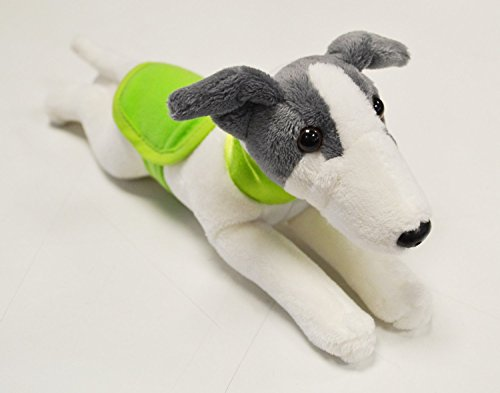 Greyhound with Green Collar & Coat Soft Toy - 23cm Beautiful White and Blue Greyhound (Greyhound Stuffed Animal)