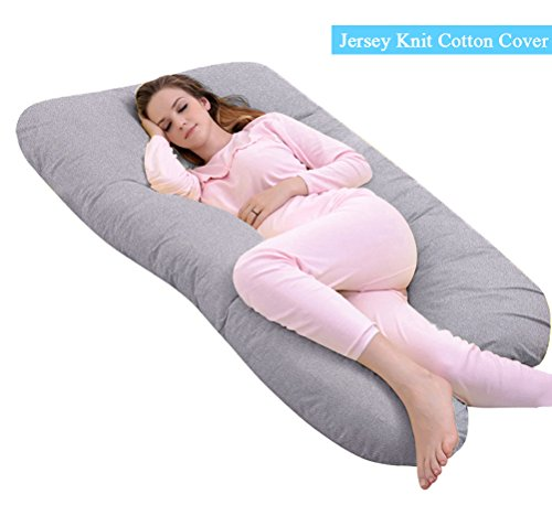 Ang Qi U-Shaped Pregnancy Pillow with Easy on-off Jersey Cover, 55 inch Full Body Maternity Pillow, Gray