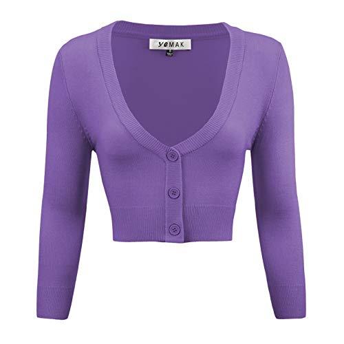 YEMAK Women's Cropped 3/4 Sleeve Bolero Button Down Cardigan Sweater CO129-BLB-L Blue -