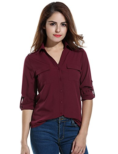 ANGVNS Womens Pocket Sleeve Collar