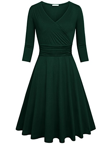 Kimmery Dark Green Dress For Women, Juniors Holiday Christmas 3/4 Sleeve Dresses Work Casual Petite Dress V Neck Party Cocktail Dresses Prime Wrapped Dress Green M