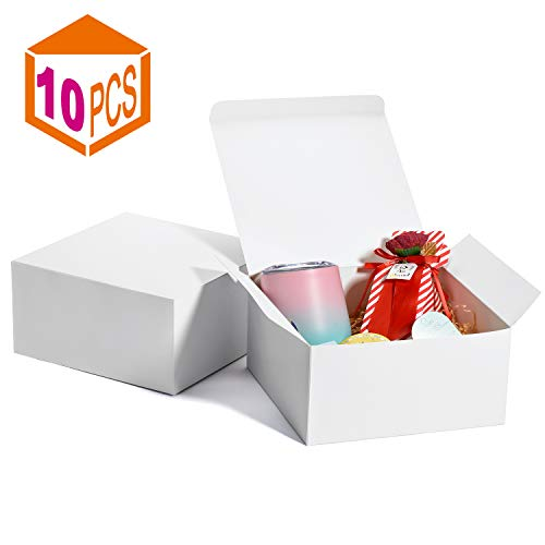 MESHA Gift Boxes 8x8x4in Gift Boxes for Bridesmaids 10Pack White Kraft Gift Boxes with Lids for Crafting Cupcake Boxes(White)
