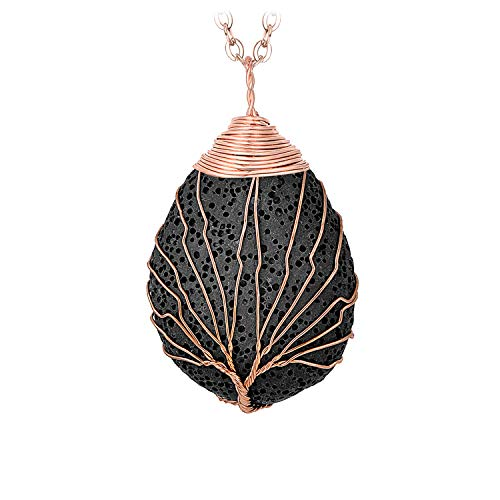 Fashion Teardrop Lava Rock Tree of Life Pendant Necklace Handmade Gemstone Water Drop Shell Shape Wire Wrapped Healing Crystal Pendants Jewelry for Women Girls Rose Gold Plated Necklaces Black