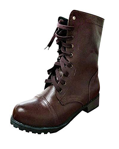 Stivali Invernali Autunno PU Stivaletti Stivaletti Tacco Marrone Sexy Boots Lacci Minetom Tacco Casual Moda Elegante Martin Blocco Donna xItdzw