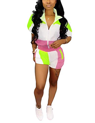 (Women's 2 Piece Outfit Color Block Half Sleeve Zip Up Top and Shorts Set Tracksuit Pink XX-Large )