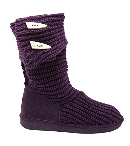 Knit Women's Bearpaw Mid Boot Tall Calf Plum Wool 5vwdzqwr