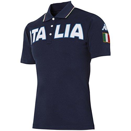 カッパ Kappa 半袖シャツ?ポロシャツ AZZURRO ストレッチ胸ITALIAロゴ半袖ポロシャツ