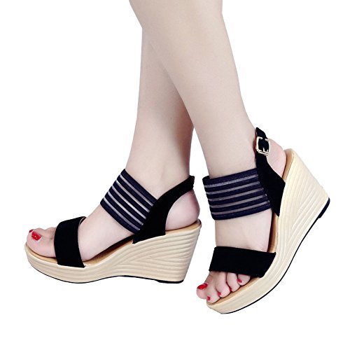 Angelliu Fashion Women Ladies Summer Stripes Stitching Flatform Wedges Sandals Black xK8QK