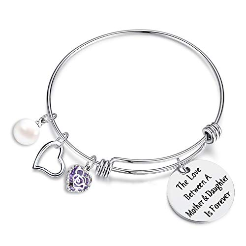 EGOO YAMEE The Love Between Mother and Daughter is Forever Heart Charm Bangle Bracelet Mom Daughter -