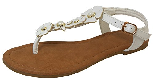 Cambridge Select Womens Open Toe T-Strap Thong Faux Pearl Flower Buckled Slingback Flat Sandal White Pu 3CcHZQSSXF