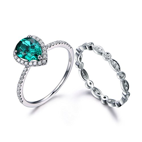 (2pcs Green Emerald Wedding Ring Set,6x8mm Pear Cut Stone Halo Rings 14k White Gold Eternity Diamond Band)