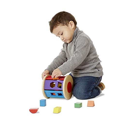 "Melissa & Doug Match & Roll Shape-Sorter, Classic Wooden Toy, Developmental Toy, Sturdy Wooden Construction, 5.85"" H x 5.85"" W x 5.85"" L"