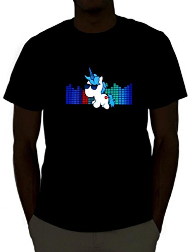 [iHeartRaves Unicorn Sound Activated Light Up Rave Tee (Large)] (Madeline Halloween Costume Ideas)