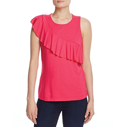 (Three Dots Women's Classic Jersey Sleeveless Flounce Top, Punchy Pink, S)