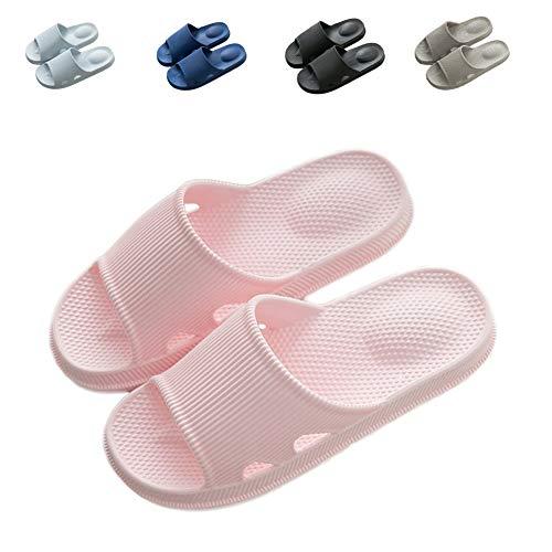(Finleoo LINE Blue Women and Men Bath Slipper Anti-Slip for Indoor Home House Sandal,Pink,40.41)