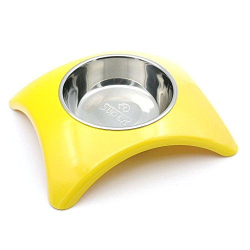 SuperDesign Rainbow Collection, Raised Stainless Steel Bowl in a Melamine Cambered Stand, Non-Skid Rubber Bottom, for Dog or Cat, Small, Yellow