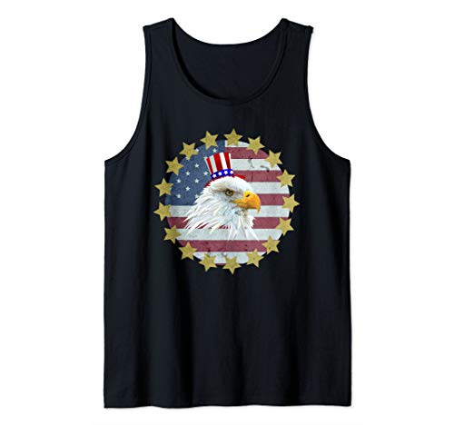 (American Flag 4th of July Bald Eagle USA Uncle Sam Hat Gift Tank Top)