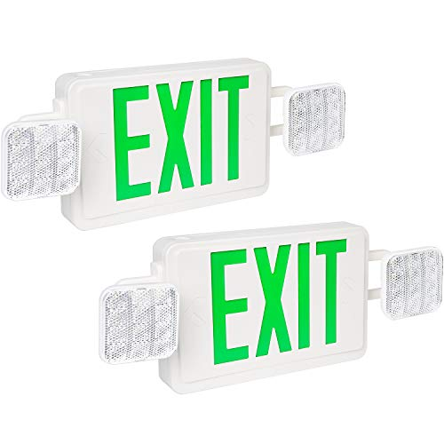 Hykolity Green Exit Sign Double Face LED Combo Emergency Light with Adjustable Two Head - 2 Pack