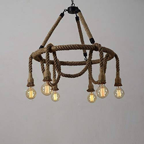 HAIXIANG 6 Light Hemp Rope Pendant Lamp Vintage Industrial Pendant Lamp Retro Edison Nautical Manila Rope Ceiling Light Fixtures by HAIXIANG (Image #2)