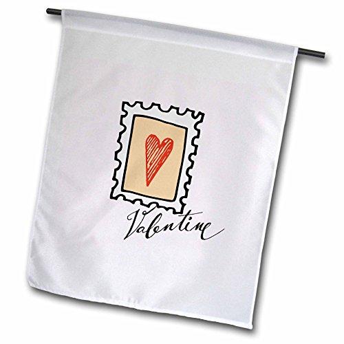 Garden Shirt Romantic (3dRose Uta Naumann Sayings and Typography - Valentine Stamp Heart - Love Heart Valentines Day - Typography - 12 x 18 inch Garden Flag (fl_275363_1))