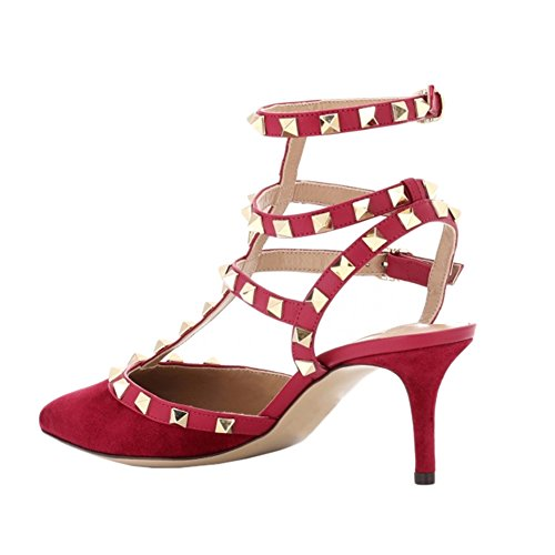 Rivets Studded Sandals Kitten T Red Women's VOCOSI Heels Pointed Toe Strap Suede faux Buckle Fashion 5qWwBTPtca