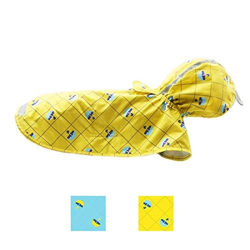 (kyeese Dog Yellow Raincoat for Large Dogs Waterproof Reflective Dog Rain Poncho with Hood Lightweight Packable Dog Slicker Raincoats with Zip Pocket)