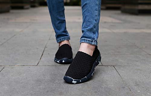 Woven Deportivas De Zapatillas Atléticas Verano Respirables Sk Sandalias Mujer Negro Cómodos Flats Studio nYwHPqqgT