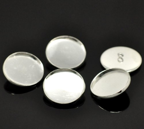 PEPPERLONELY Brand 20PC Silver Plated Cabochon Setting Cover Buttons 22mm Fit - Silver Setting Plated