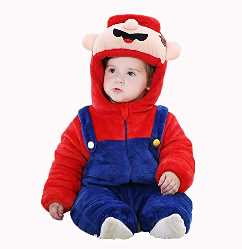 Infant Mario Costumes (Aokaixin Infant Baby Toddler Hoodie Rompers Costumes Baby Suit (Height:26-28.7'', Super Mario))