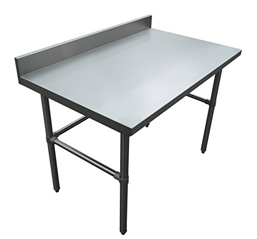 Backsplash Open Base Work Table - JET Premium Heavy Duty 16 Gauge 304 Stainless Steel Commercial NSF Open Base Kitchen Work Prep Table Desk Holds Up to 800 Pounds with 4-inch High Backsplash, 48 inch Long x 30 inch Wide, Silver