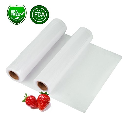 Two 8X118 Rolls Vacuum Sealer Bags, 8Mil Thickening Commercial Grade Food Strorage Bags for Vacuum Sealer Machine, Food Saver and Sous Vide, BPA Free & FDA Approved