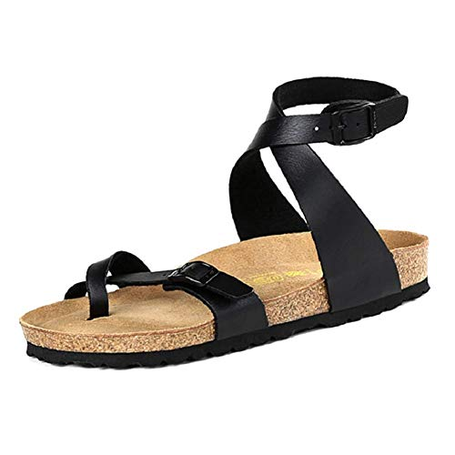 VANDIMI Womens Slide Flat Cork Sandals Gladiator Comfortable Fashion Buckle Ankle Strappy Ring Toe Leather Mayari - Leather Toe Ring
