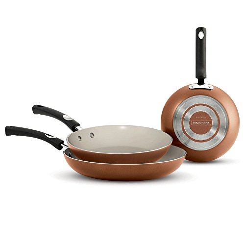 Tramontina Ceramic-Reinforced Nonstick Fry Pans, Set of 3 Made in the USA (Copper) Natural Fry Pan