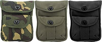 Army Universe Ammo Pouch Heavyweight Cotton Canvas Two Pocket Tactical Utility Ammunition Wallet Mini Pouch with Belt Loop