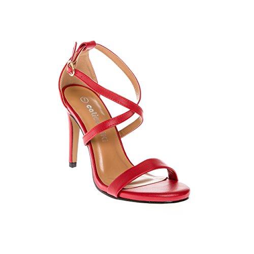 CALICO KIKI DEVYN-CK02 Women's Open Toe Cross Strap Platform Evening Dress High Heel Pumps (7.5 US, (Red Patent Open Toe Pumps)