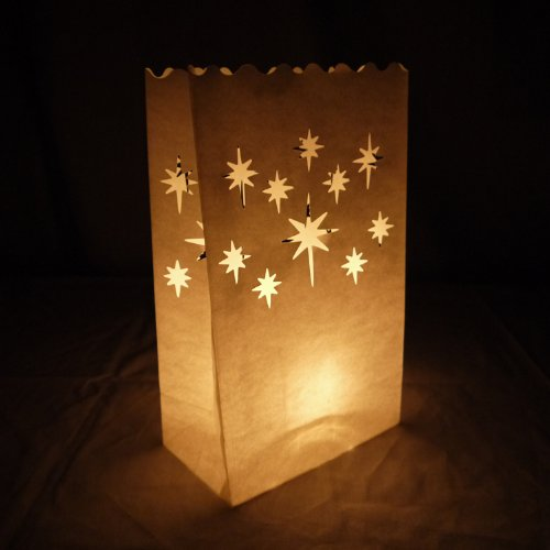 Diagtree 20 Pack Luminary Candle Bags Wishing Lanterns- Flame Resistant Light Holder (Stars)