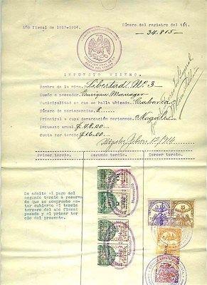 1913-14-mexico-mining-tax-document-libertad-no-3-gold-mine-sonora-revenue-stamps