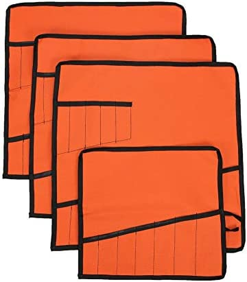 QEES 巻きツールケース 4枚入 ツールボックス 道具袋 工具バッグ 巻タイプ 13本 作業用品 小物整理 収納ケース 多機能袋 防水 持ち運び 便利 GJB77 (オレンジ)