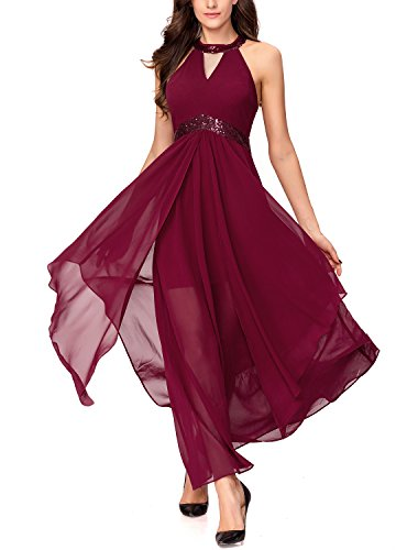 Noctflos Chiffon Elegant Maxi Cocktail Evening Dress For Women Party Wedding