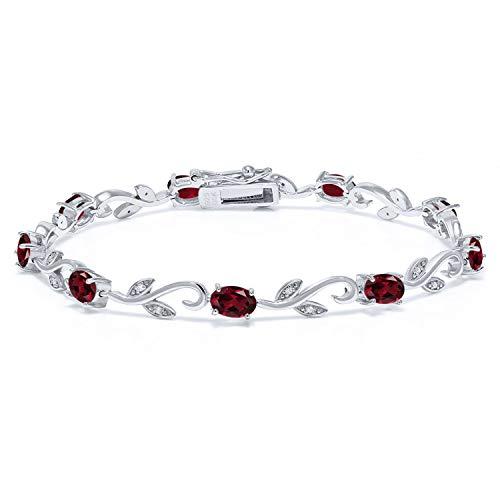 (4.63 Ct Oval Red Rhodolite Garnet White Diamond 925 Sterling Silver Bracelet)