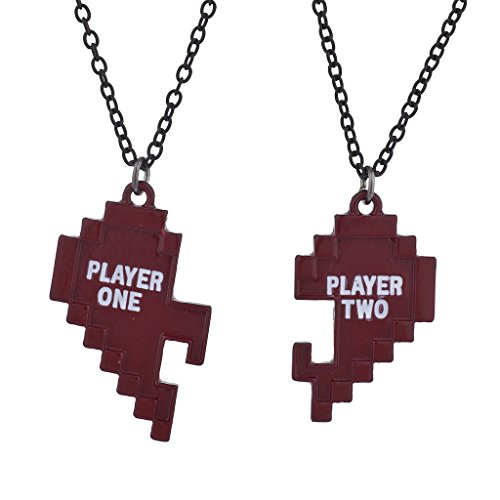 Lux Accessories Red Player 1 Player 2 Gamer BFF Broken Heart Necklace Set 2 PC