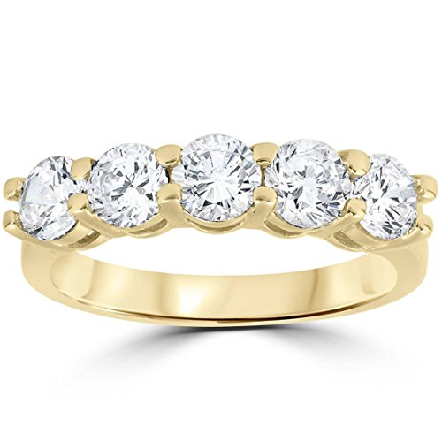 2 ct Diamond Five Stone Wedding Anniversary Round Cut Ring 14k Yellow Gold - Size 7 ()