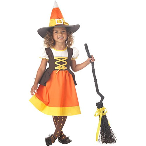 Toddler Candy Corn Halloween Witch Costume (Size: 2T-4T) - Baby Broom Costume