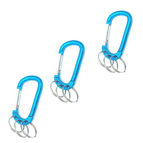 Ring Attached Split - COMOK Blue Tone Multifunction Keychain Carabiners with 3 Attached Split Rings Clip Hook for Outdoor Activity Etc 3Pcs