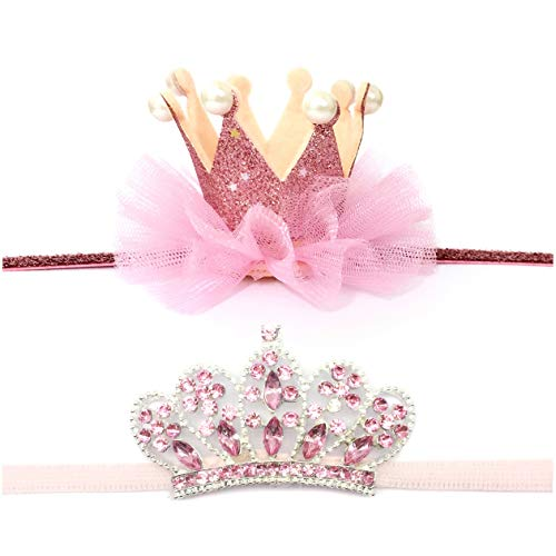 Elesa Miracle Baby Hair Accessories Baby Girl's Gift Box Shiny Tiara Crown Headband Set (2pc- Pink)